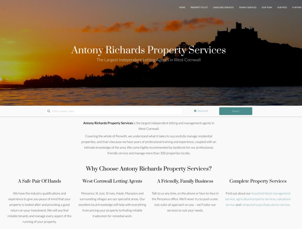 A new website for Antony Richards Property Services – web design Cornwall