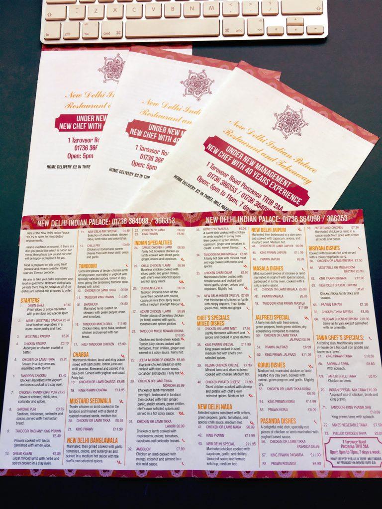 New menus for New Delhi Indian Restaurant