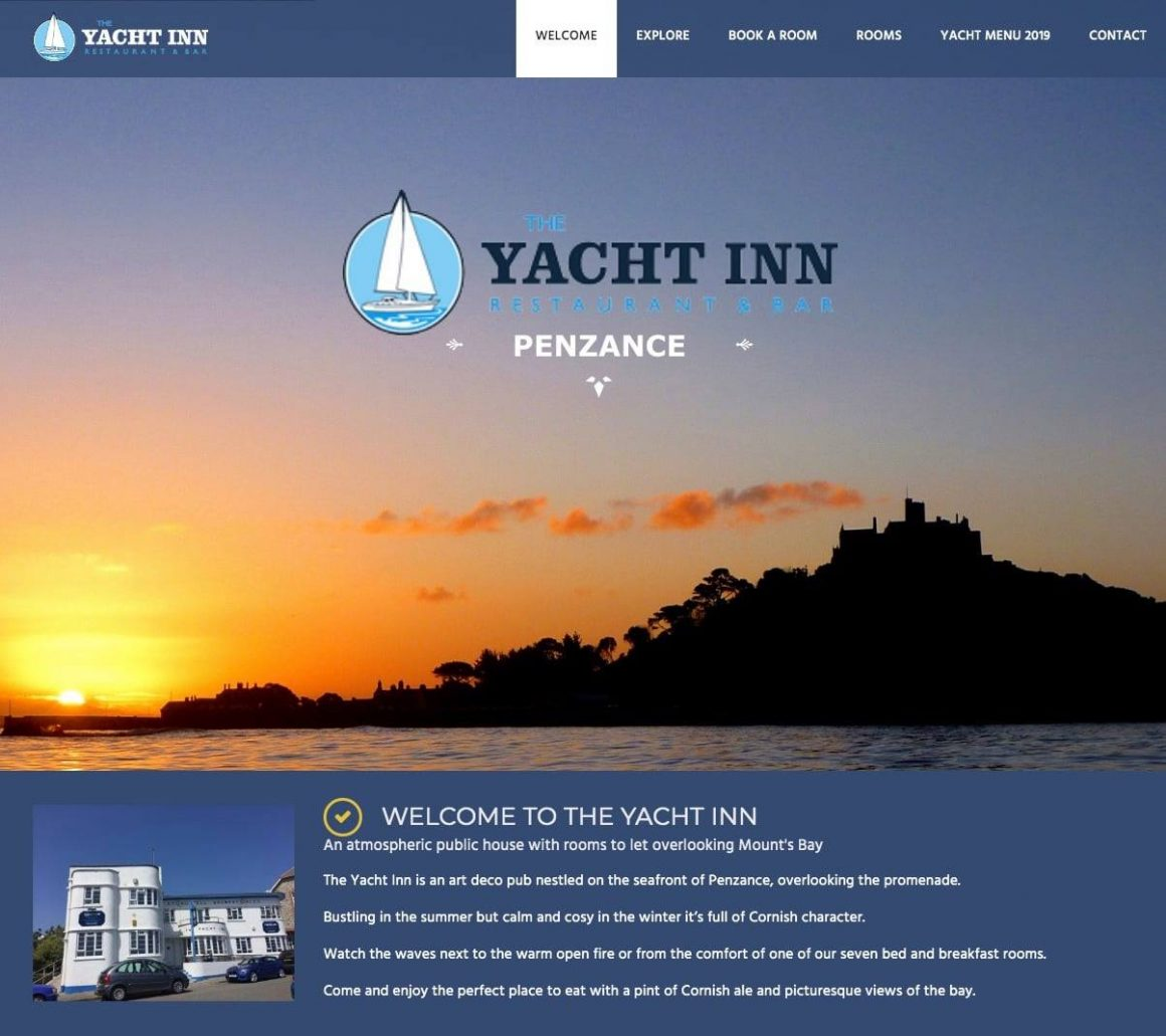 New website for Yacht Inn, Penzance