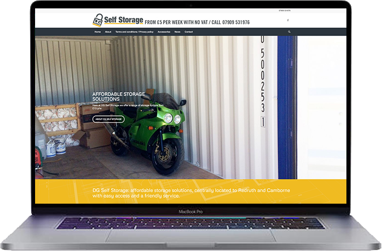 self-storage website design redruth
