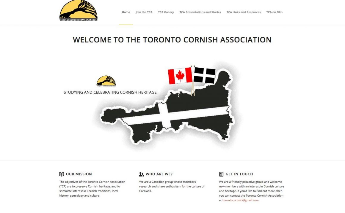 Toronto Cornish Association, a new website for our Cornish cousins in Toronto