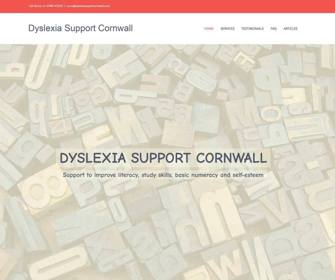 Dyslexia Support Cornwall, a new website for a dyslexia tutor